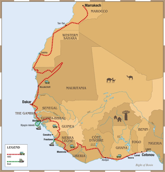 Trans-Sahara & West Africa, The Grand Expedition - Map